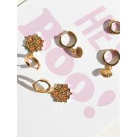 Bold Goldplated Oorbel Grafisch Ster Cirkel Oranje Roze
