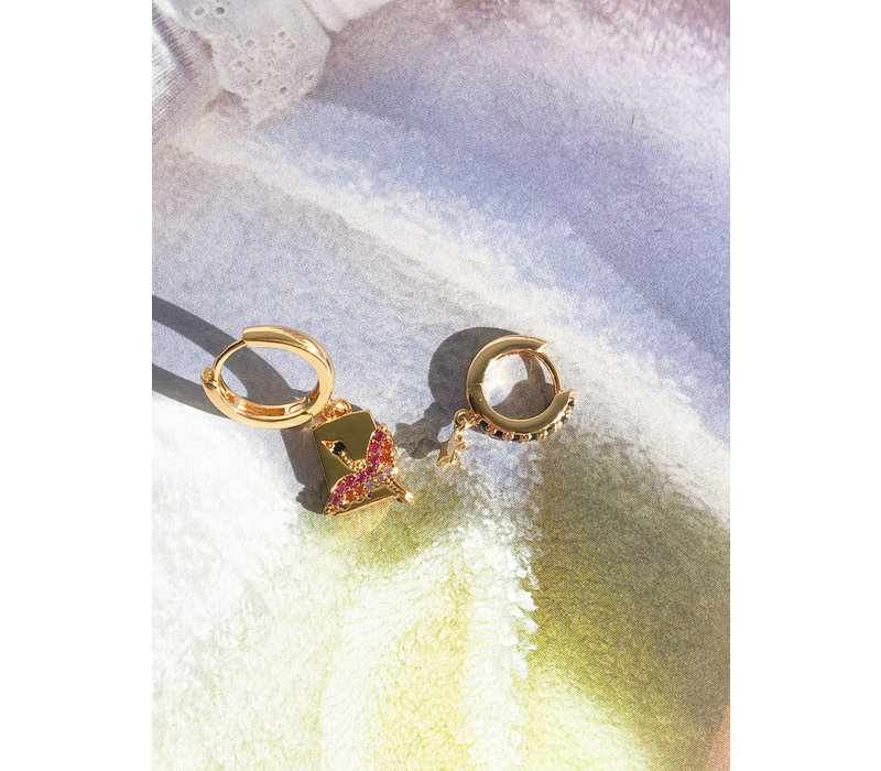 Earring Crane Rectangle Multi Color plated