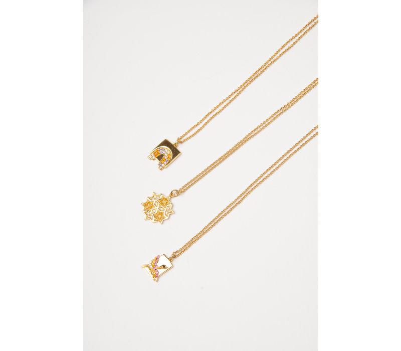 Necklace Crane Rectangle Multi Color plated