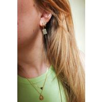 Earring Rainbow Rectangle plated