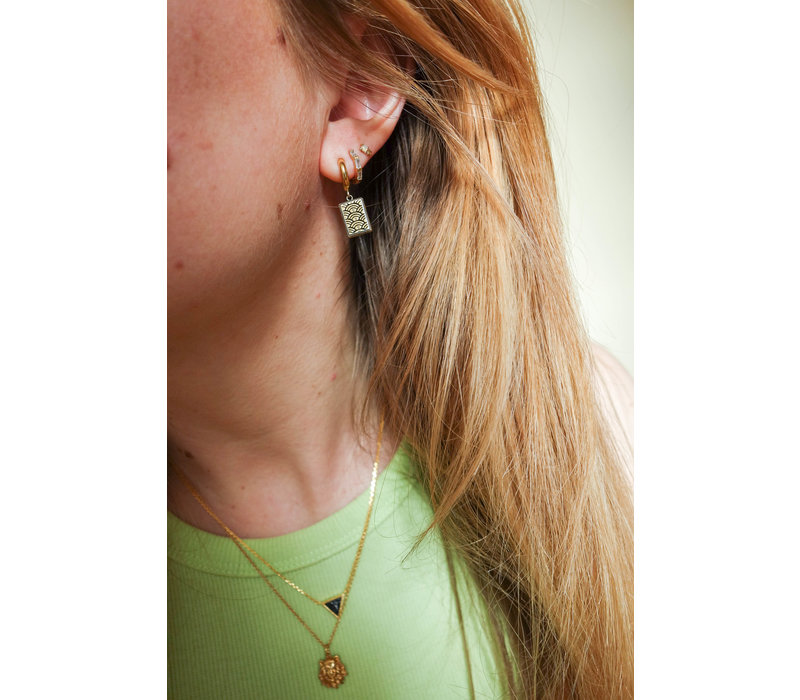 Charm Goldplated Earring Rainbow Rectangle