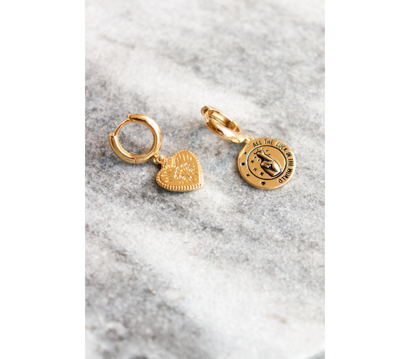 Charm Goldplated Oorbel All the Luck Cirkel