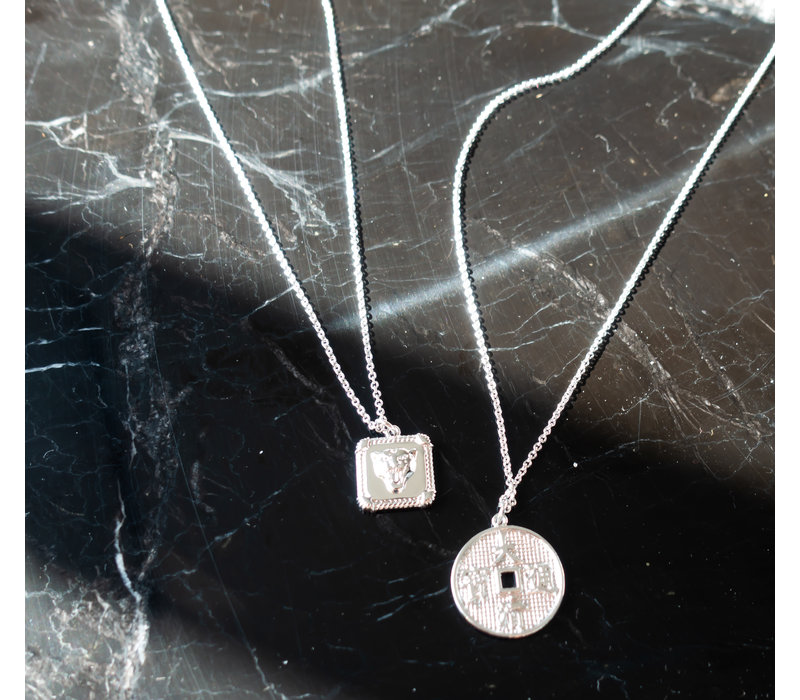 Charm Silverplated Necklace Panter Square