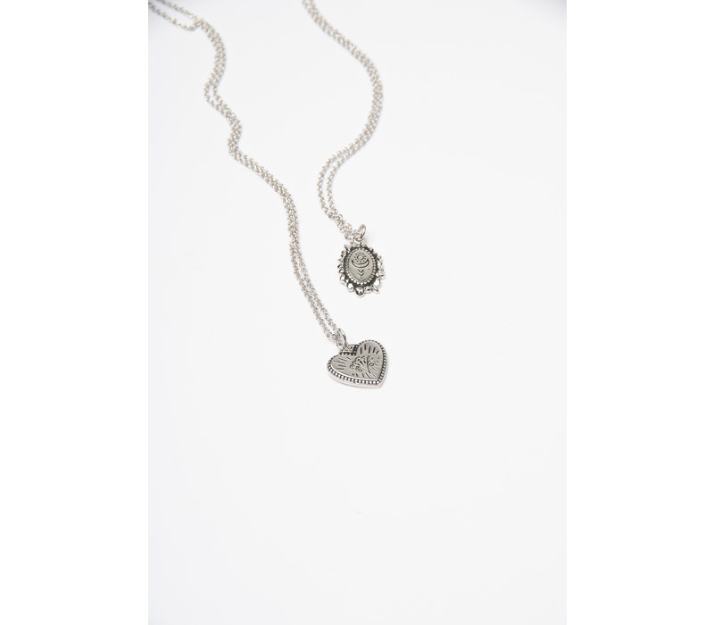 Charm Silverplated Necklace Burst Heart