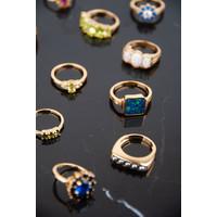 Chérie Goldplated Ring Vierkant Blauw