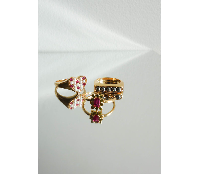 Chérie Goldplated Ring Staaf Bolletjes Grijs