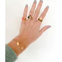 Ring Signet Oval Coral plated