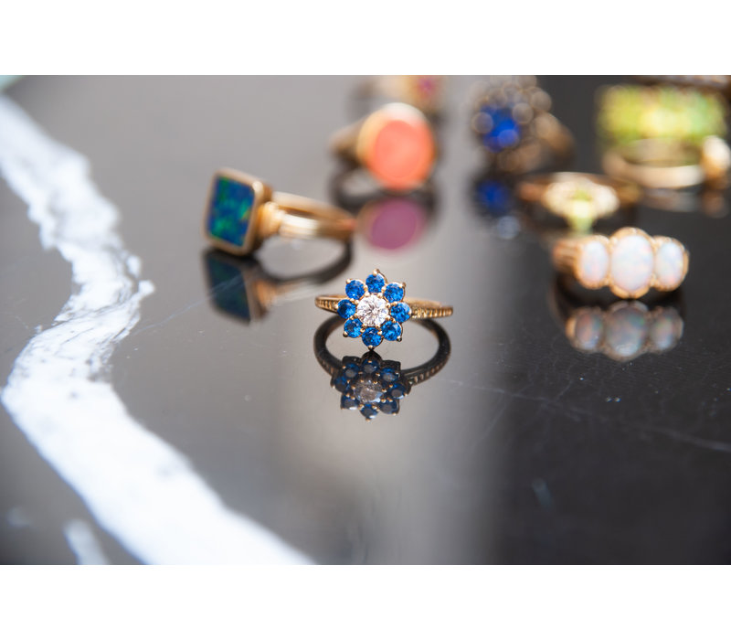Chérie Goldplated Ring Bloem Blauw transparant