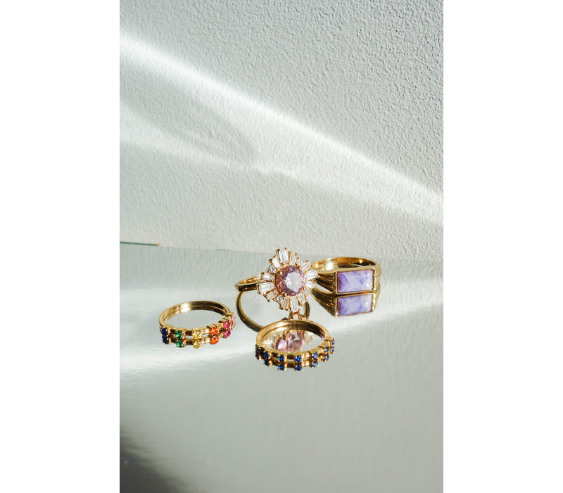 Ring Sun Light Pink Clear plated