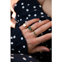 Ring Rectangle Green Black plated