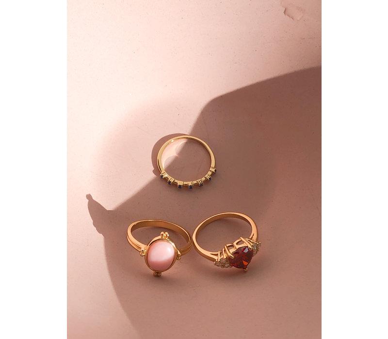 Ring Ovaal Marmer Licht Roze verguld