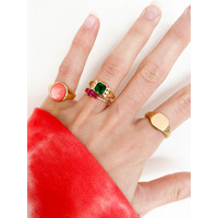 Chérie Goldplated Ring Square Green Clear