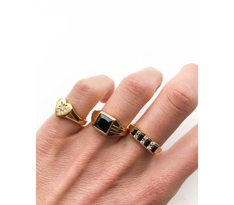 Ring Staaf Zwart Transparant verguld