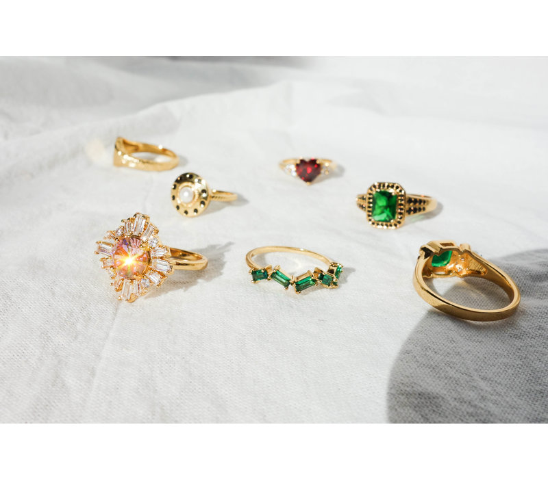 Chérie Goldplated Ring Zigzag Groen