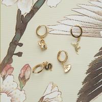 East Goldplated Earring Crane