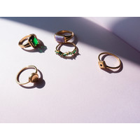 Magique Goldplated Ring Rhomb Black