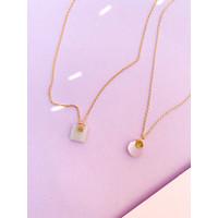 Necklace Pastel Rose Quartz Moon plated