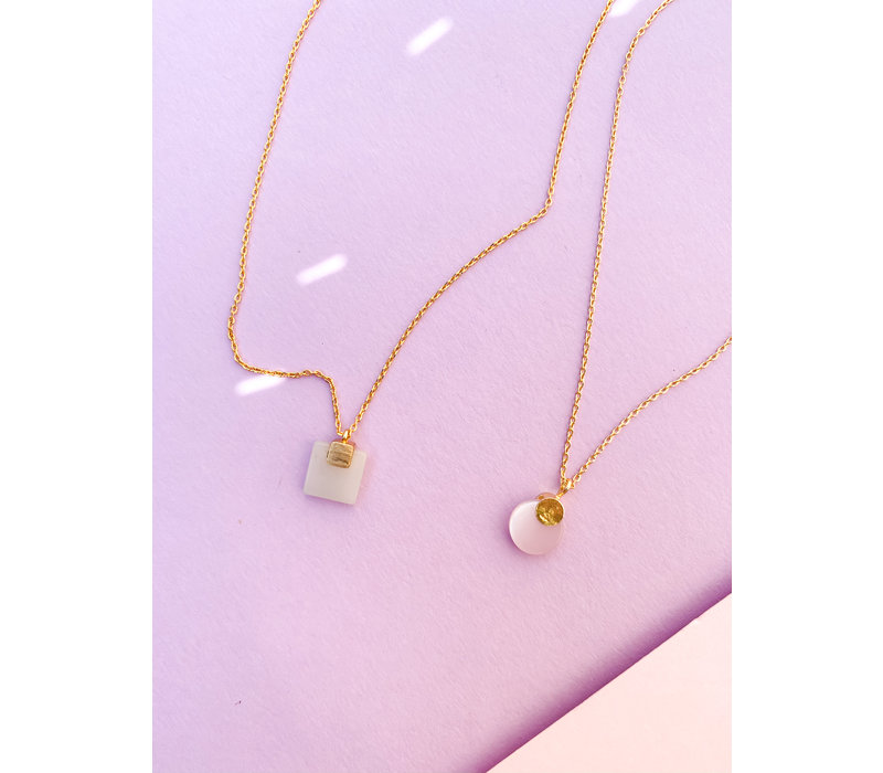 Galaxy Goldplated Necklace Pastel Rose Quartz Moon