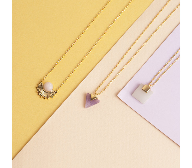 Galaxy Goldplated Ketting Pastel Rose Quartz Sun
