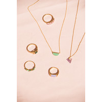 Galaxy Goldplated Necklace Moon B Green Chrysoprase