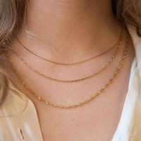 Essentials Goldplated Ketting Platte Schakel