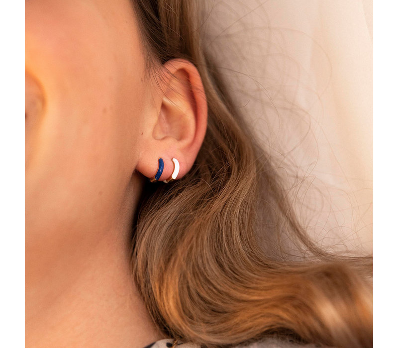 Bloom Silverplated Earring Dark Blue