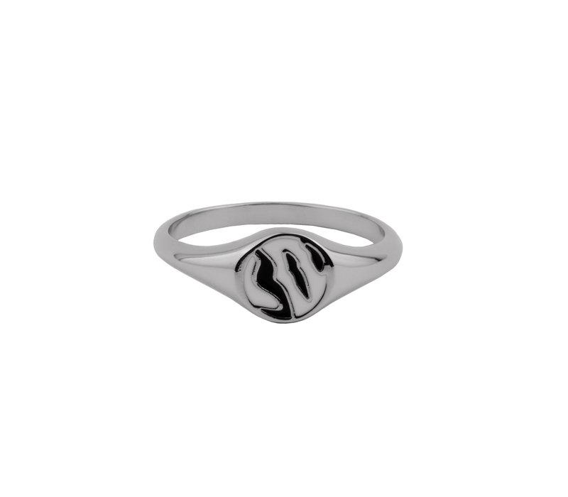 Vivid Silverplated Ring Signet Zebra Black White