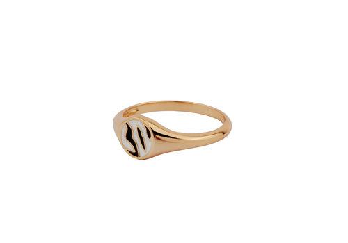 All the Luck in the World Vivid Goldplated Ring Signet Zebra Black White