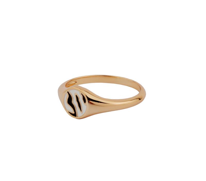 Vivid Goldplated Ring Signet Zebra Black White