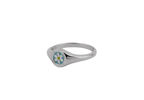 All the Luck in the World Vivid Silverplated Ring Signet Daisy Blauw Groen Wit
