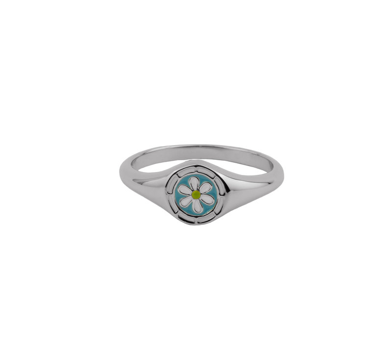Vivid Silverplated Ring Signet Daisy Blue Green White