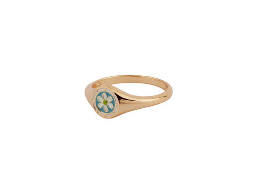All the Luck in the World Vivid Goldplated Ring Signet Daisy Blue Green White