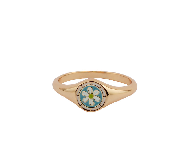 Vivid Goldplated Ring Signet Daisy Blauw Groen Wit