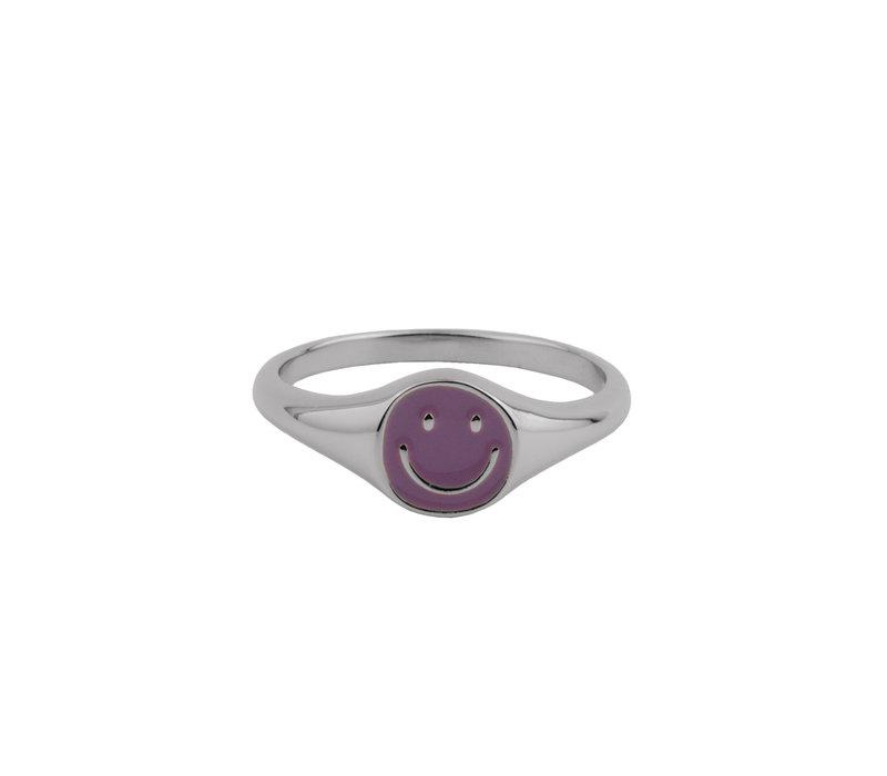 Vivid Silverplated Ring Signet Smiley Purple