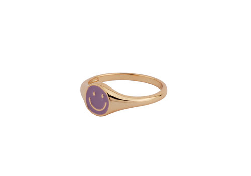 All the Luck in the World Vivid Goldplated Ring Signet Smiley Purple