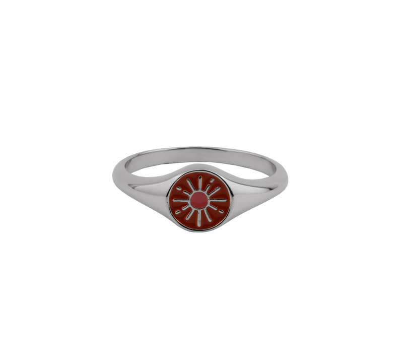 Vivid Silverplated Ring Signet Burst Orange Pink
