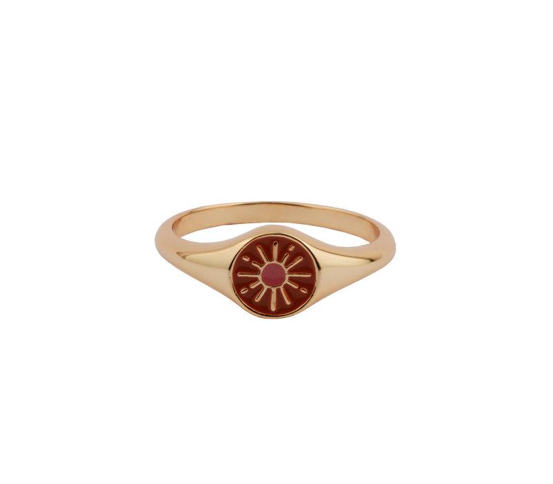 Vivid Goldplated Ring Signet Burst Oranje Roze
