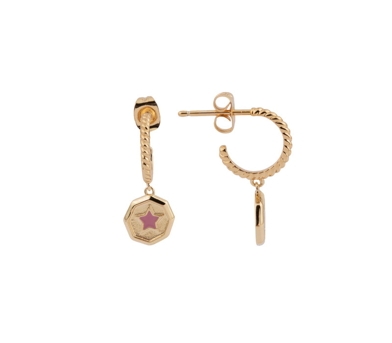 Vivid Goldplated Earring Hexagon Star Lilac Pink