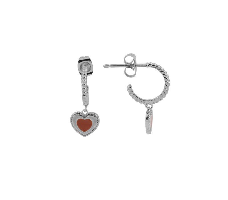 Vivid Silverplated Earring Heart Dots Orange