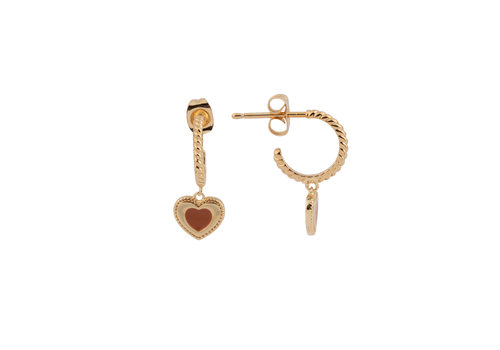 All the Luck in the World Vivid Goldplated Earring Heart Dots Orange