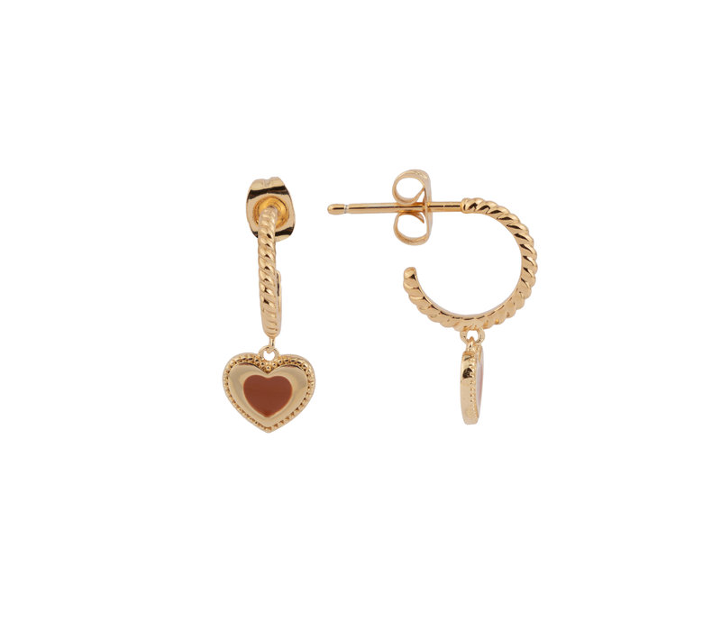 Vivid Goldplated Earring Heart Dots Orange