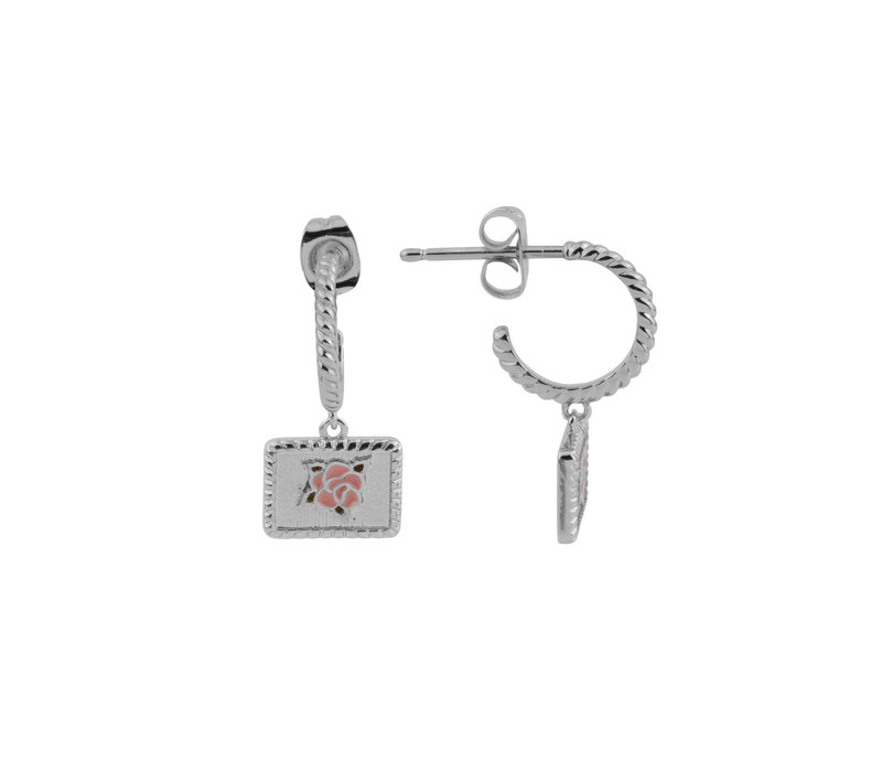 Vivid Silverplated Earring Rectangle Rose Pink Green