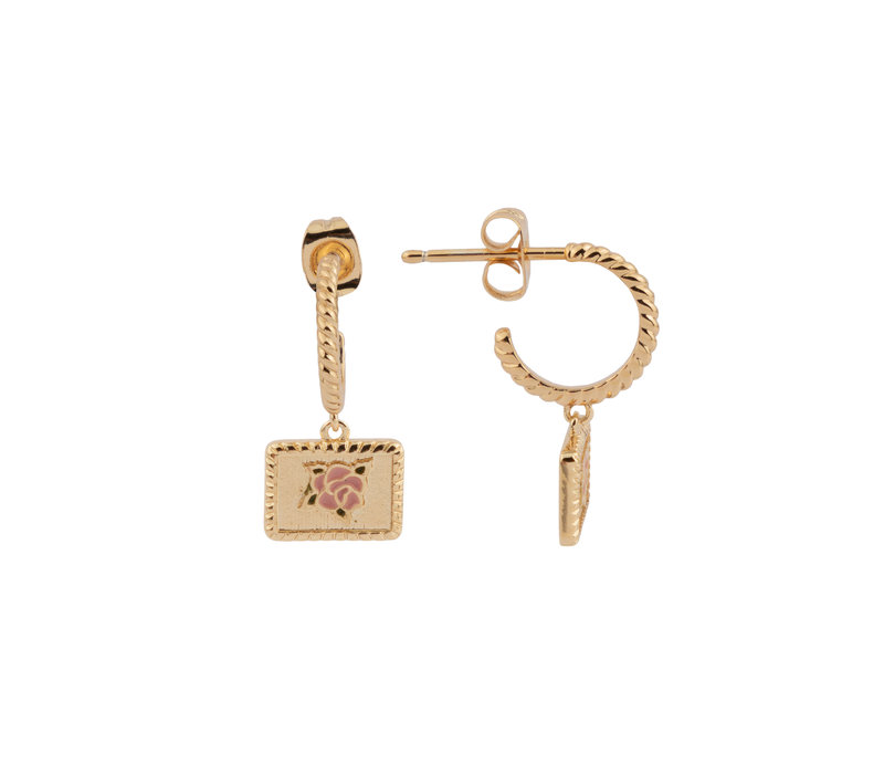 Vivid Goldplated Earring Rectangle Rose Pink Green