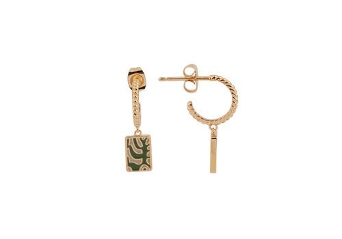 All the Luck in the World Vivid Goldplated Earring Rectangle Plant Green Beige