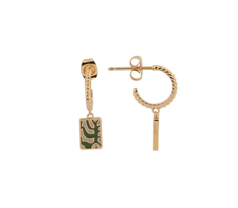 Vivid Goldplated Earring Rectangle Plant Green Beige