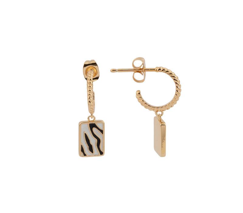 Vivid Goldplated Earring Rectangle Zebra Black White
