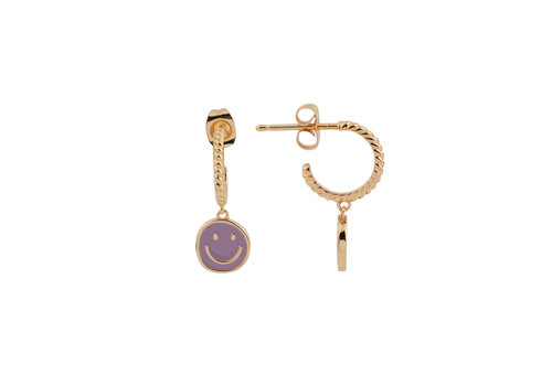 All the Luck in the World Vivid Goldplated Earring Coin Smiley Purple