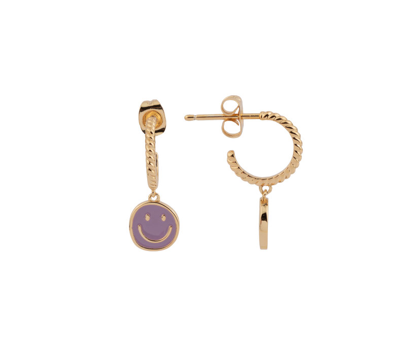 Vivid Goldplated Earring Coin Smiley Purple