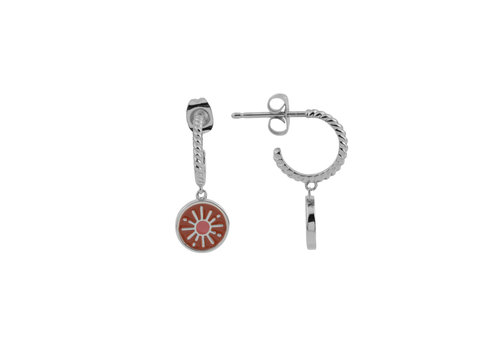 All the Luck in the World Vivid Silverplated Earring Coin Burst Orange Pink