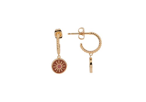 All the Luck in the World Vivid Goldplated Earring Coin Burst Orange Pink
